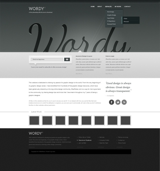 free website psd template download