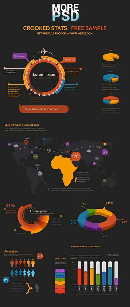 infographics charts free psd template download