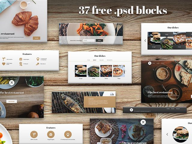 food ui kit, free psd. Widgets for website of cafe, restaurant, bar
