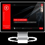 Dark red Wordpress free theme music