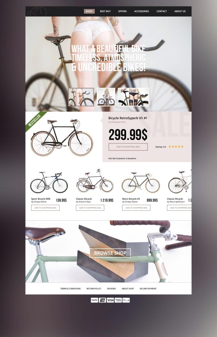 e-commerce psd template free download bike theme