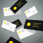 flying business card mock-up free psd