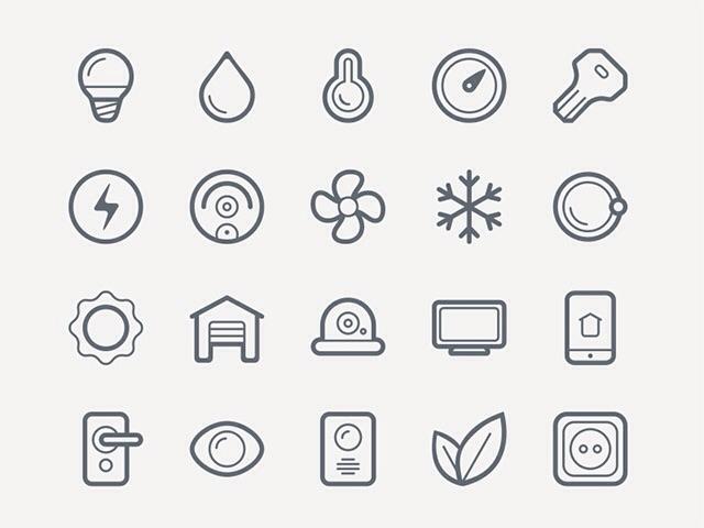 Icon set for smart home freedownloadenergy saving lamp TV internet electricity
