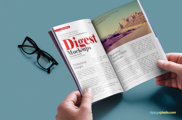free magazine mockup fre psd in hands with glases