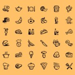 Food hand draw icons set free vector psd