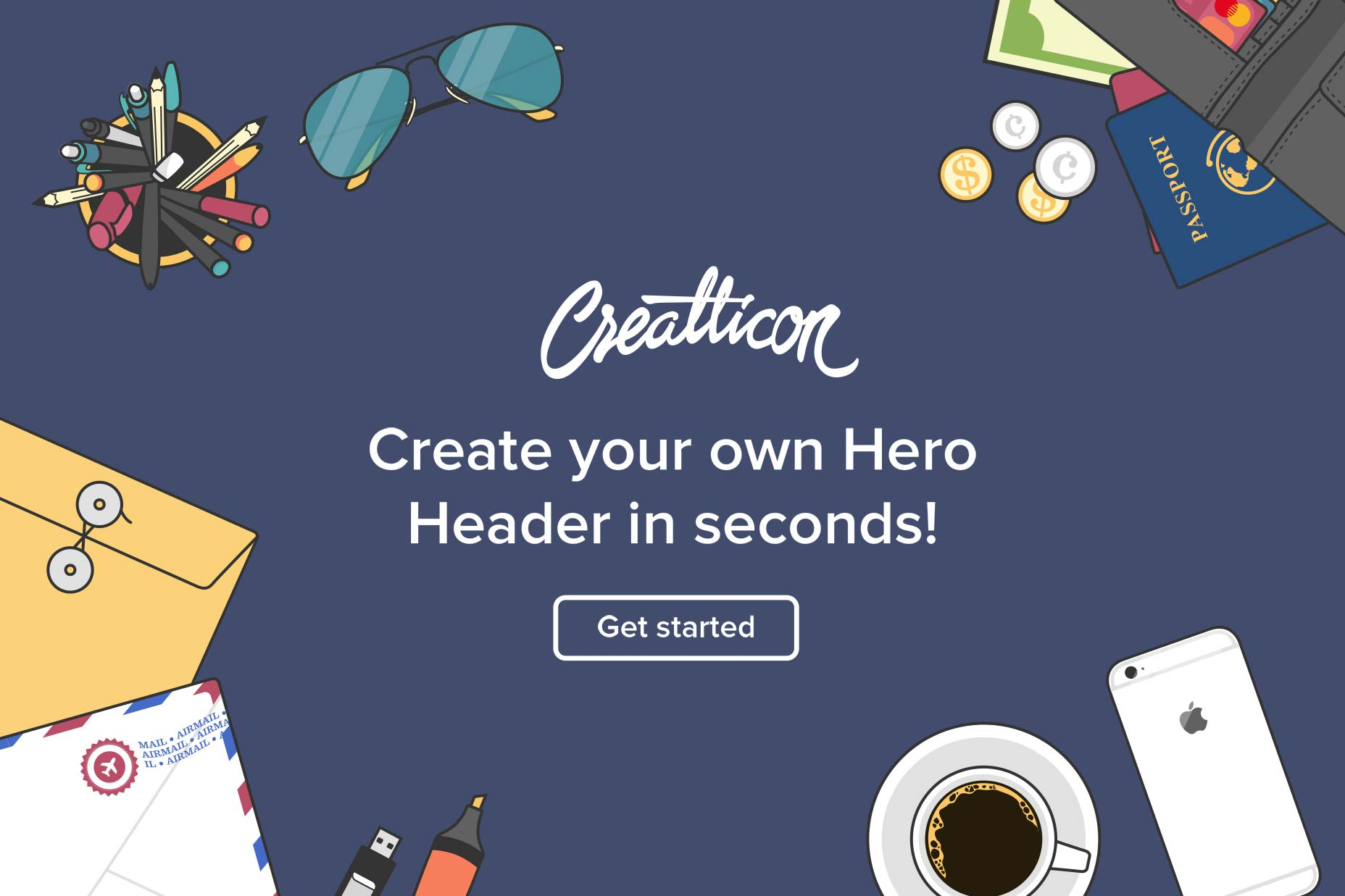 hero head flat free illustration