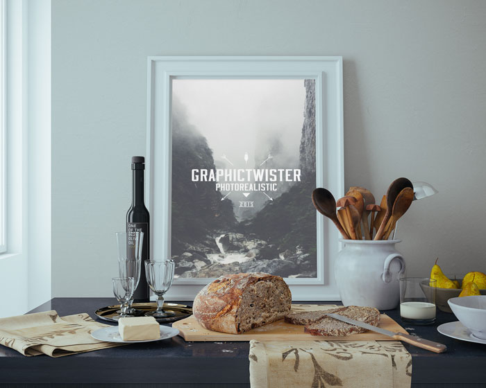 kitchen poster dishes wine mockup free psd