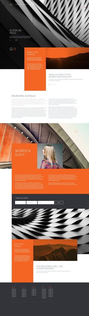 dark modern website free template psd