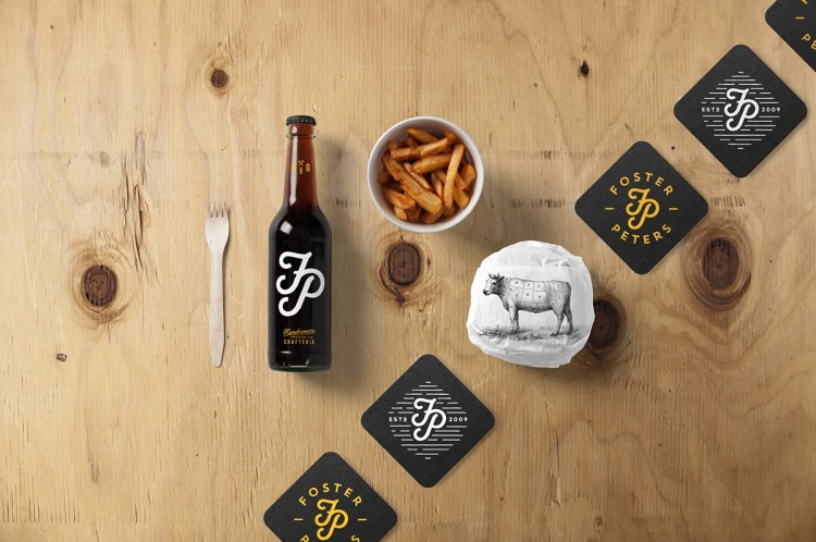 bar, restaurant, wood, branding, free, bottle, beer, pack, paper, burger