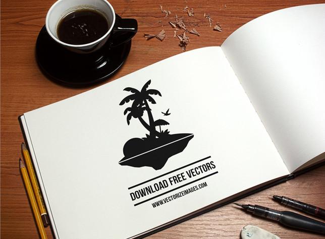 free vector palm tree on island illustration
