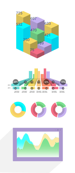 free infographics set charts download psd