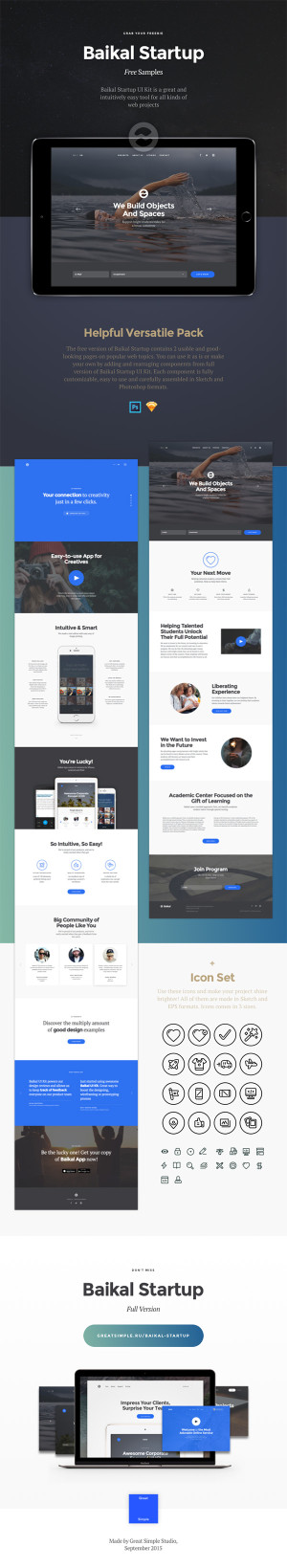 free cool website ui kit template psd