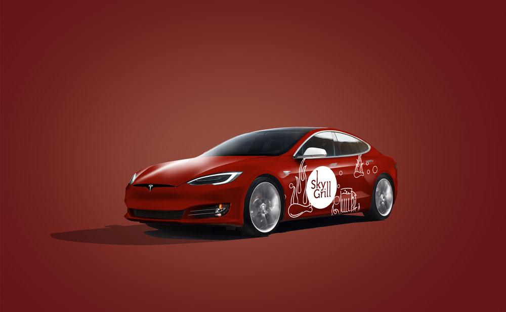 tesla car mockup psd for branding free