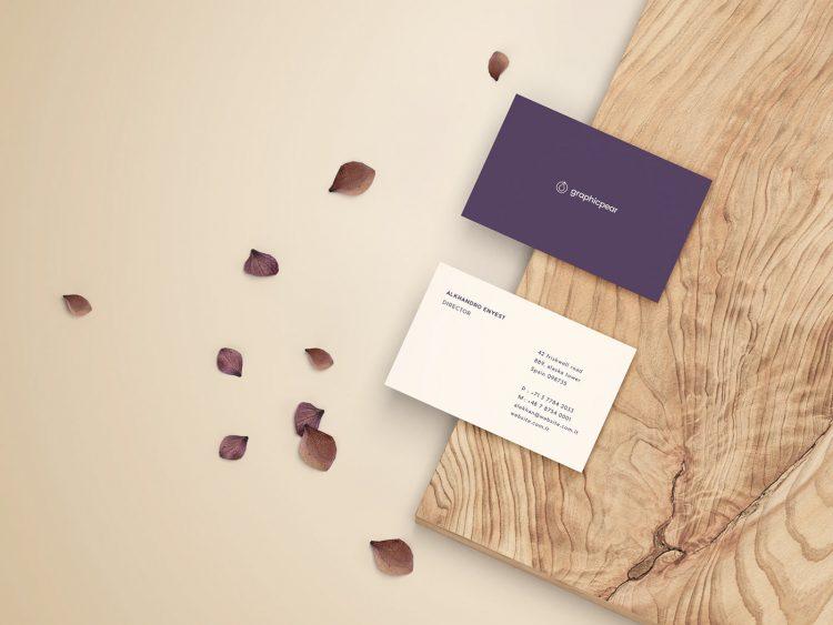 business card mockup wood psd free