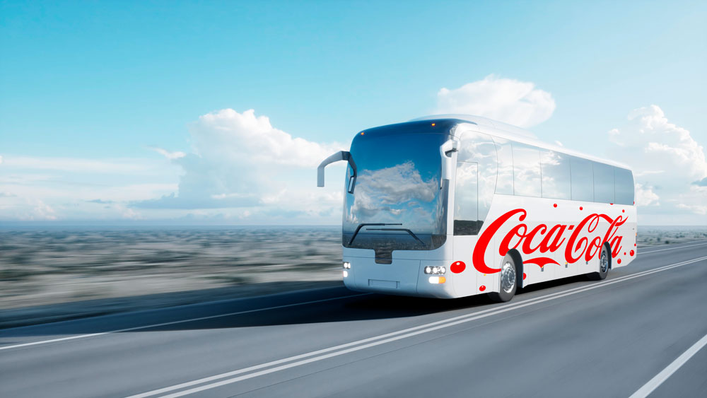 bus design free mockup psd van vehicle on road