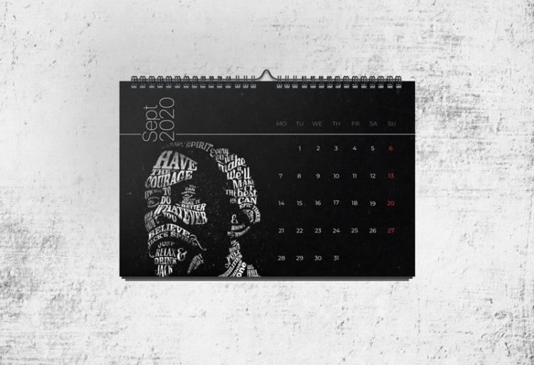calendar template 2020 free mockup