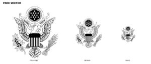 USA emblem, coat of arms US, eagle, black and white, free, vector