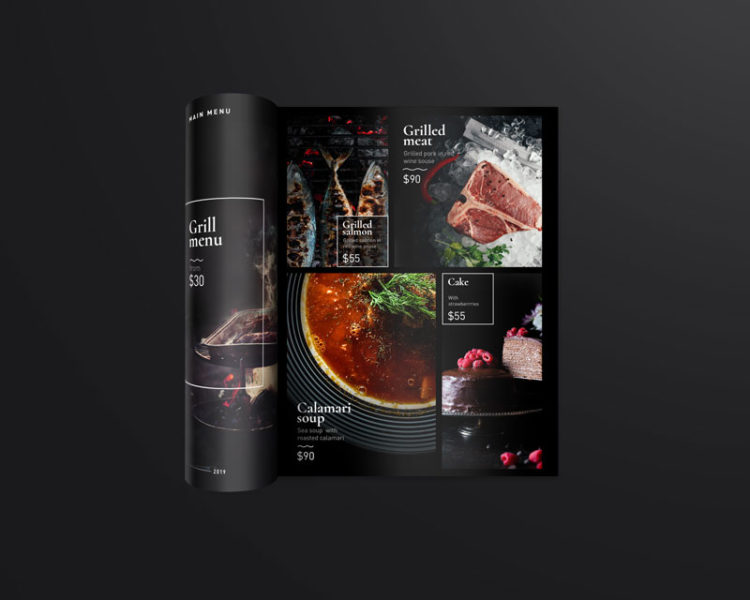 dark menu template and mockup free psd
