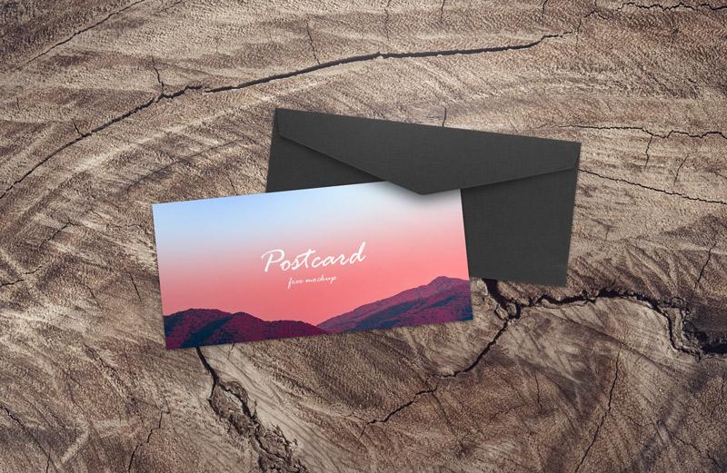 postcard free mockup design with black craft envelope