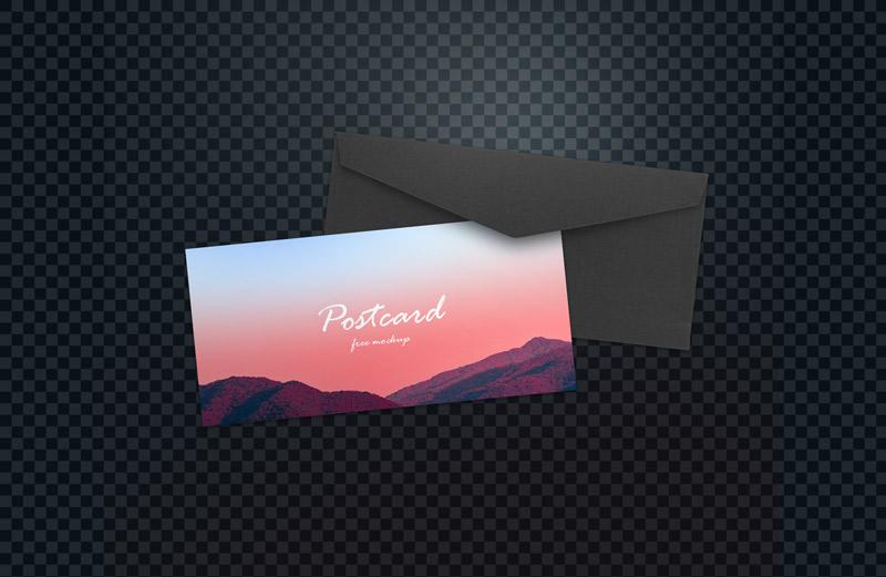 ostcard free mockup design with black craft envelope
