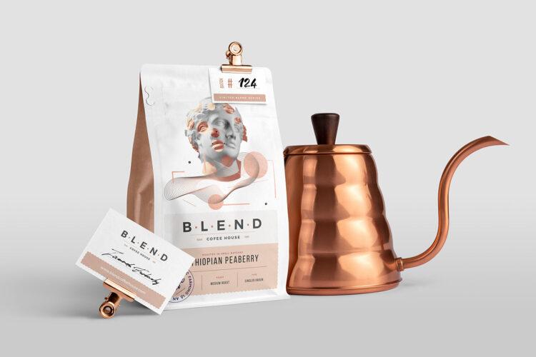 tea or coffee package and branding free mockup