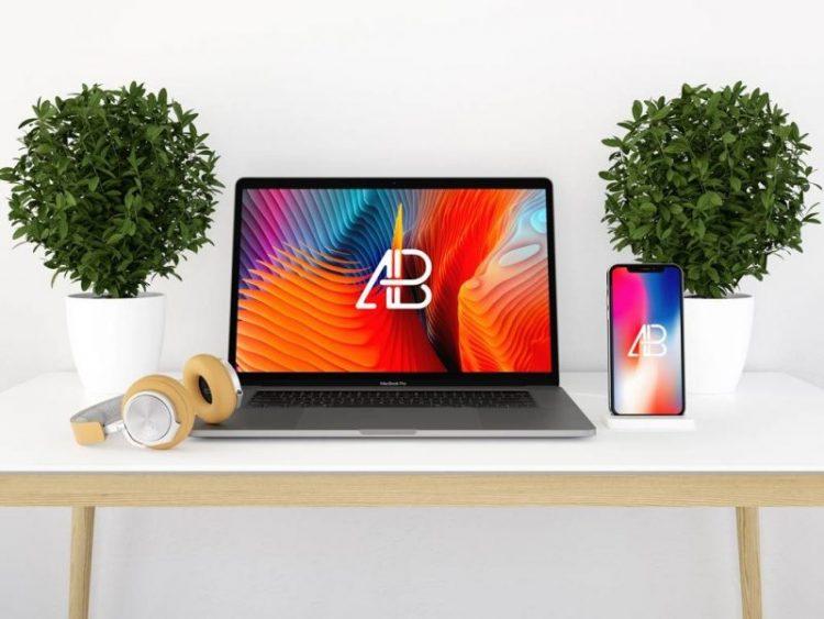 laptop mockup free macbook iphone on table plants