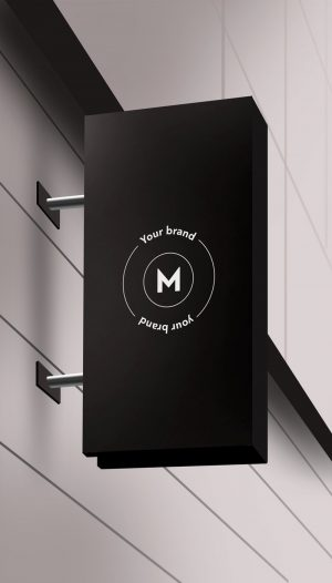 logo on wallsign store mockup free