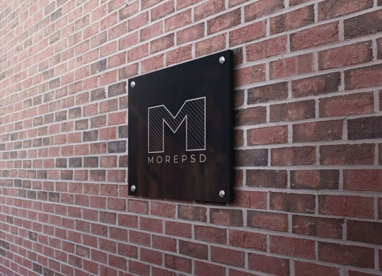 glossy wall sign mockup square free download psd