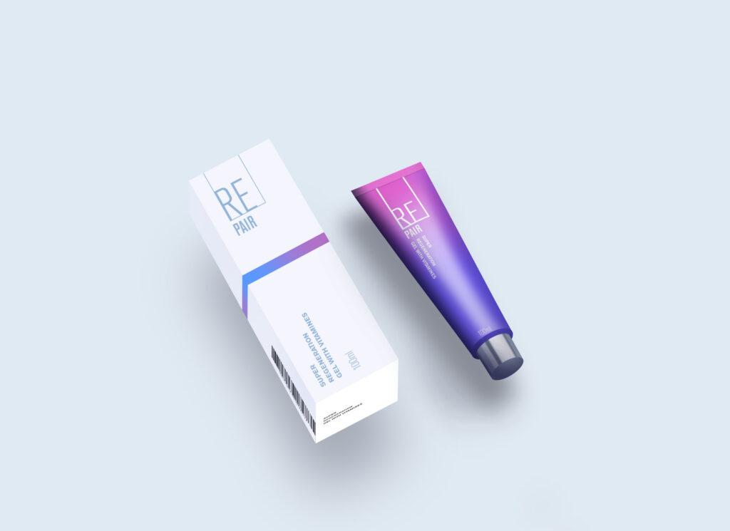 cosmetic tube and box mockup free psd